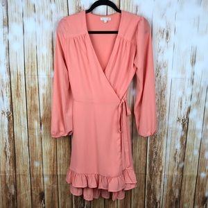 Gianni Bini pink ruffle wrap dress size: S